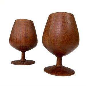 Vintage Boho Modern Wood Goblets/Cups Decor 199RE